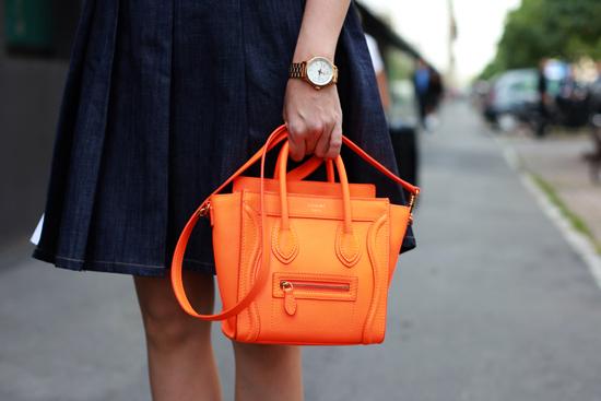 Celine-Luggage-tote-in-fluro-orange